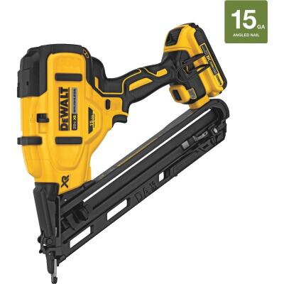 DeWalt 20 Volt MAX XR Lithium-Ion Brushless 15-Gauge 2-1/2 In. Angled Cordless Finish Nailer Kit