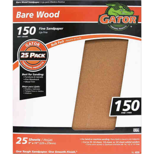 Gator Bare Wood 9 In. x 11 In. 150 Grit Fine Sandpaper (25-Pack)