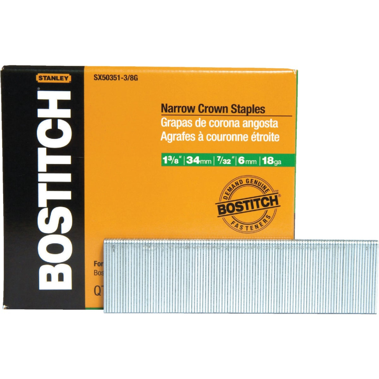 Bostitch 18-Gauge Galvanized Narrow Crown Finish Staple, 7/32 In. x 1-3/8 In. (3000 Ct.) Image 1
