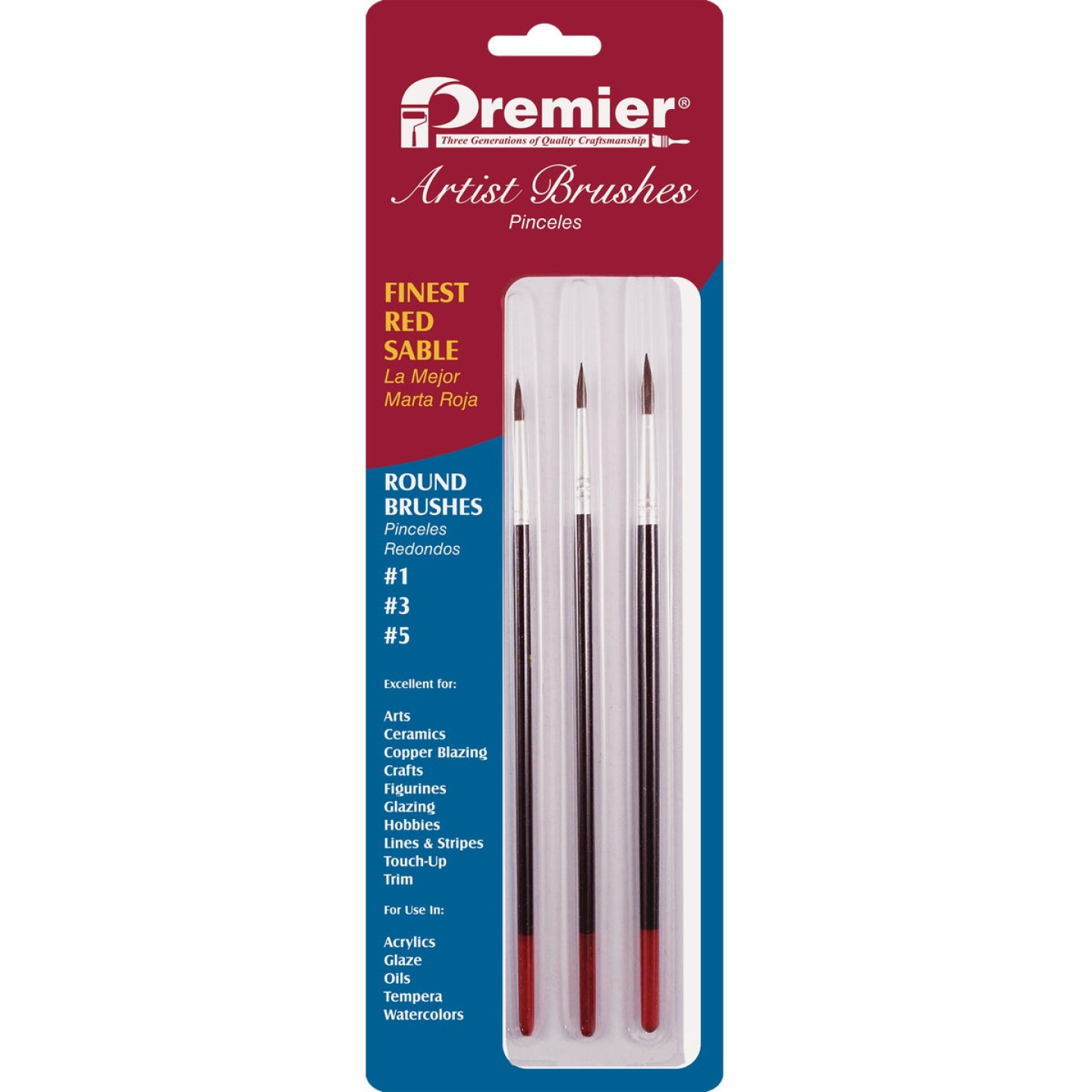 Premier Assorted Red Sable Round Artist Brushes (3-Pieces) Image 2