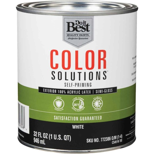 Do it Best Color Solutions 100% Acrylic Latex Self-Priming Semi-Gloss Exterior House Paint, White, 1 Qt.