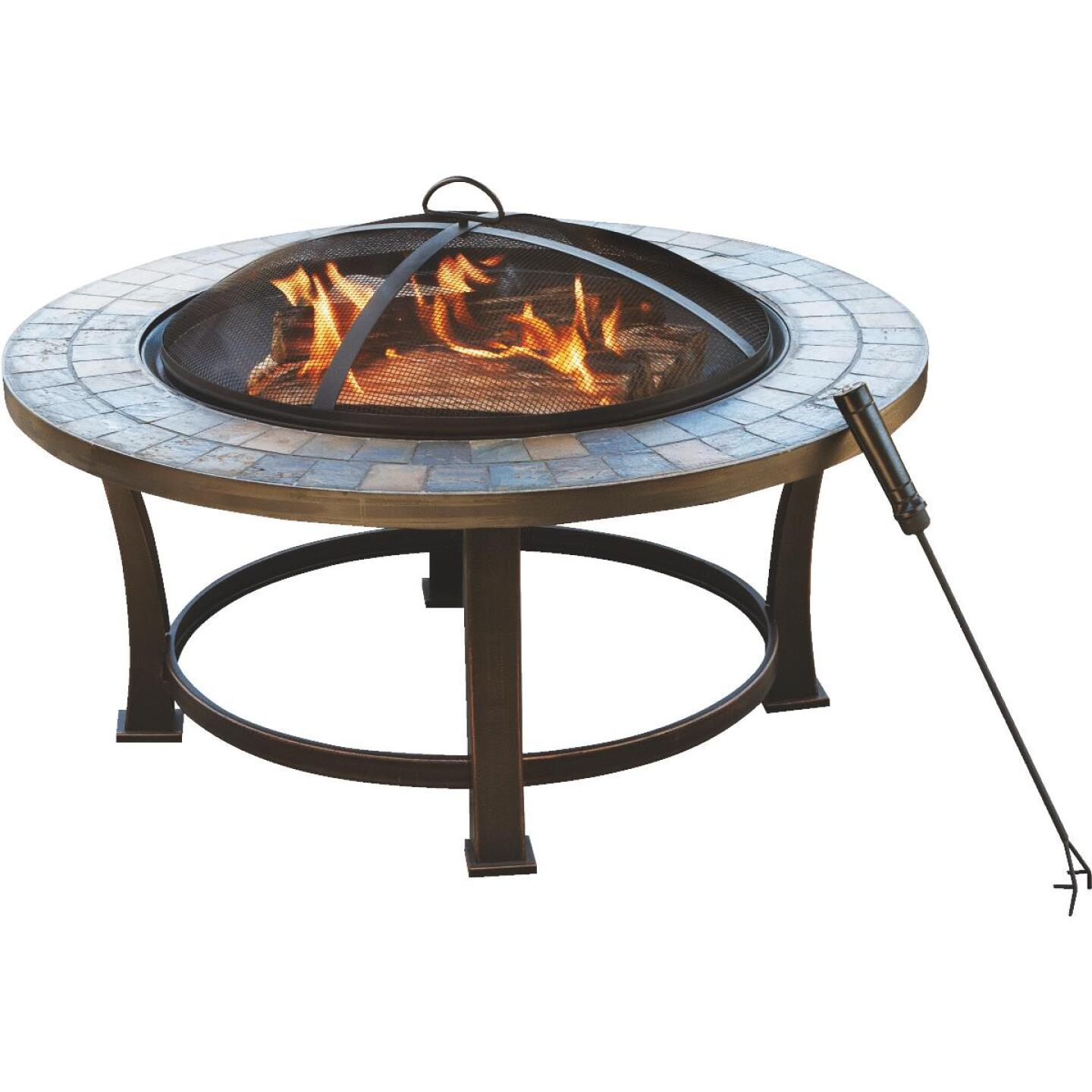 Outdoor Expressions 34 in. Antique Bronze Round Steel Fire Pit Image 1